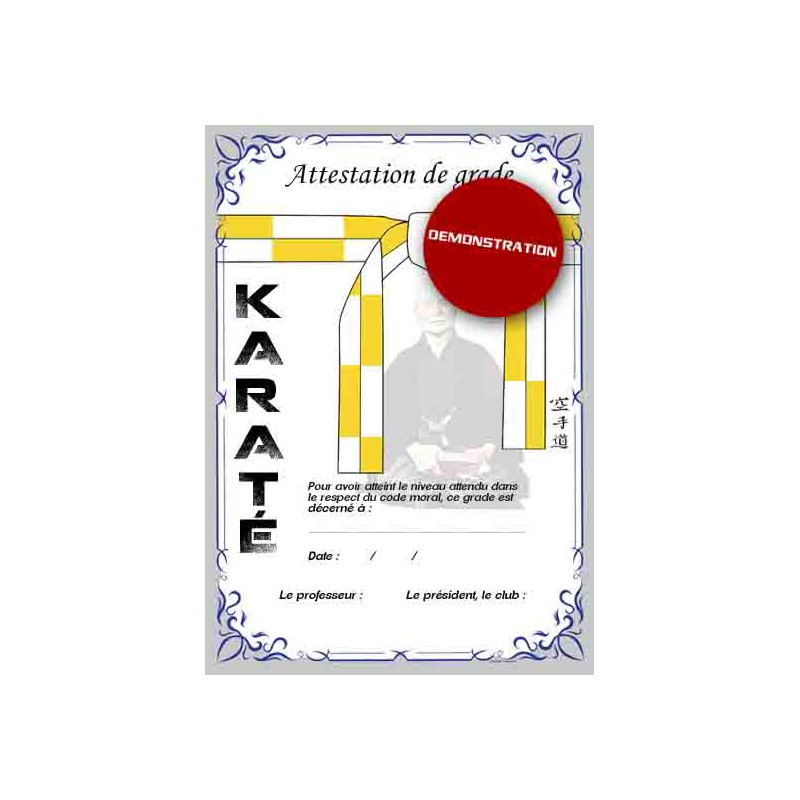 Certificazione cintura bianca gialla