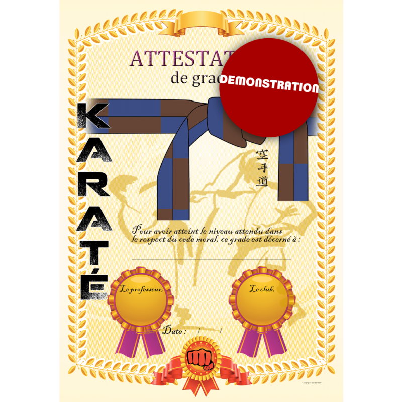 Attestation ceinture bleue marron