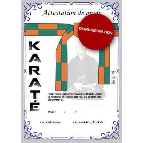 Certificado de cinturón naranja verde