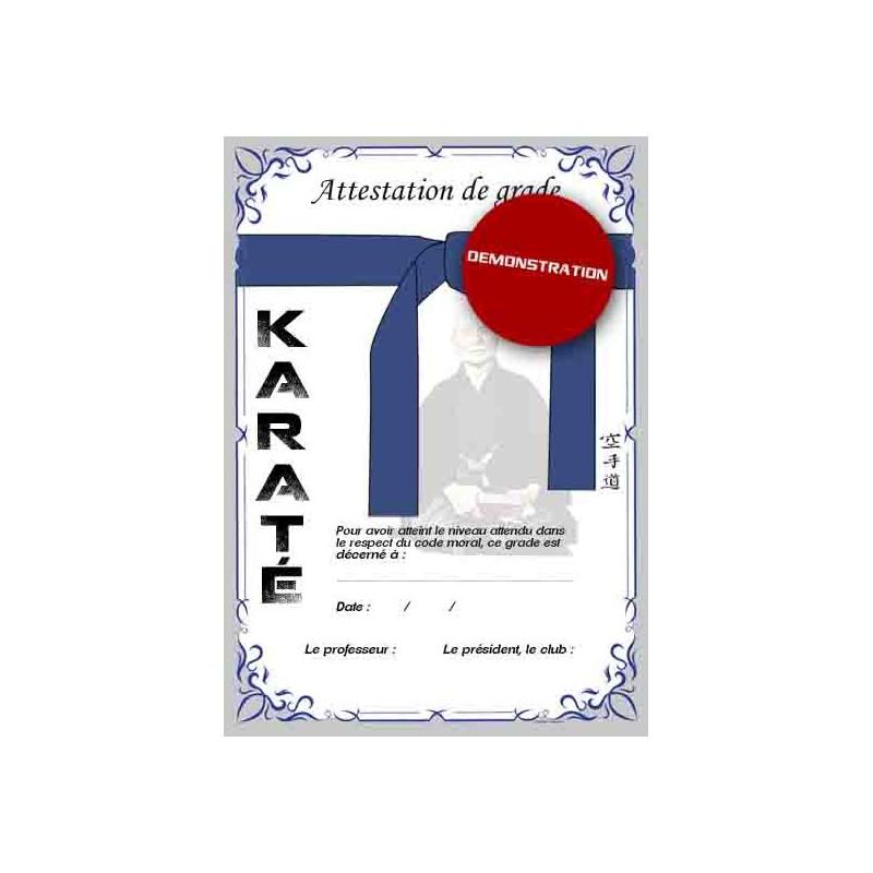 Attestation ceinture bleue